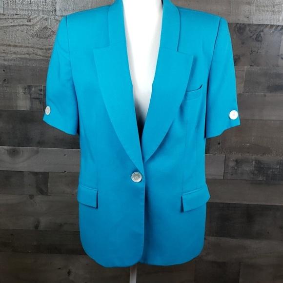 Oleg Cassini Jackets & Blazers - Oleg Cassini short Sleeved  blue blazer sz 14